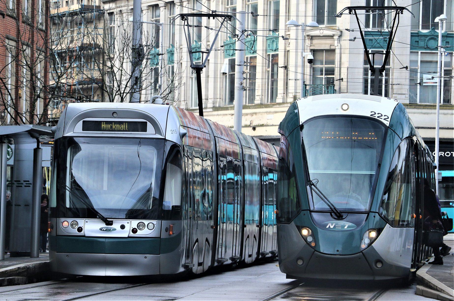 Nottingham's electric tram. Credit: David Reed on Pixabay.